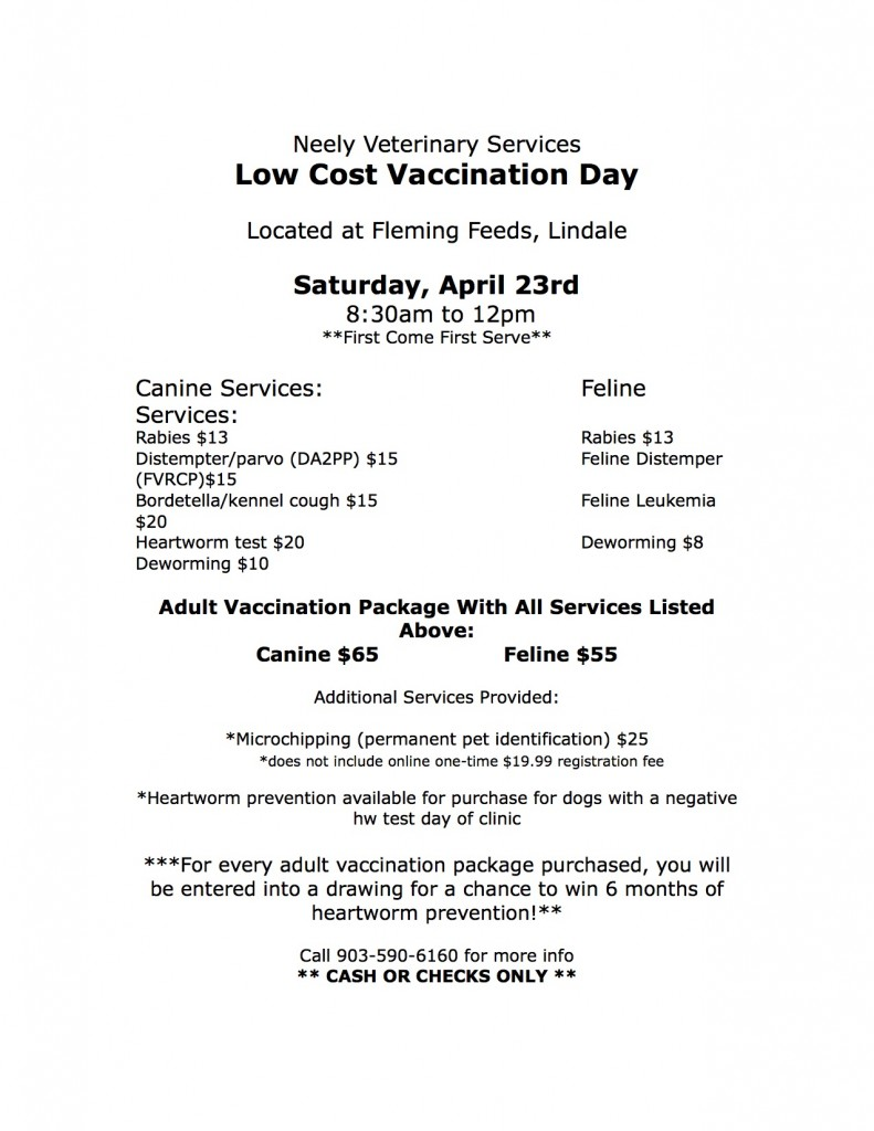 low cost vaccination day lindale apr 23 Low Cost Vet Clinic